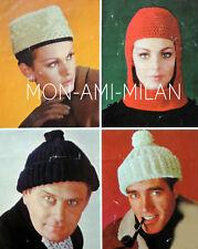 1960s Knitting Crochet Pattern LADIES MENS HATS Astronaut Helmet,Pillbox,Bobble