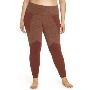 Beyond Yoga Paneled Space Dye High Waist Midi Leggings Red Rock Tumbleweed 2X