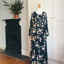 70s Style Navy Blue Yellow Pink White Floral Print Long Boho Hippy Dress 8