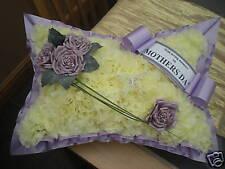 False Funeral Flower Pillow Tribute Artificial Silk Memorial Mum Nan Gran