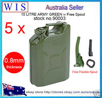 10L Metal Jerry Can Fuel Engine Diesel Petrol Oil Storage Container & Spout,5/PK