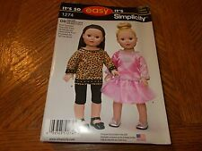 """Simplicity Pattern 1274 - 18"""" Doll Clothes - Top~Skirt w/Overlay~Tunic~Leggings"""