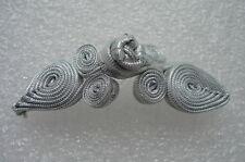 FG347 Metallic Ribbon Peach Frog Closure Buttons Knots Silver Sewing/Design 5prs