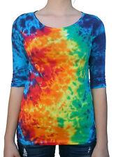 Tie Dye T-Shirt, 3/4 Sleeve, Women's (Regular Fit), Multi-color, 100% Cotton