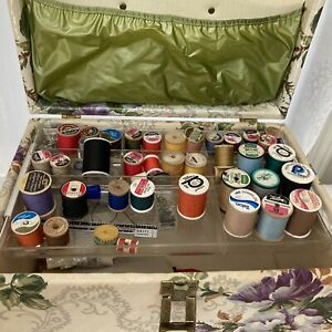 Vintage Sewing Box Kit - Vintage Threads, New Pinking Shears - Buttons - Pins