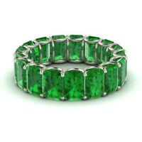 3.40 Ct Genuine Emerald Eternity Band 14K White Gold Gemstone Ring Size K L M N