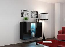 Kommode Sideboard Highboard Hängeschrank CARA schwarz hochglanz LED