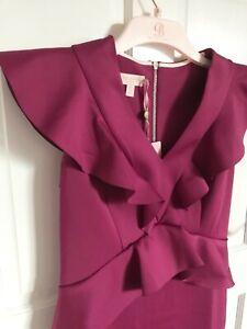 Ted Baker ALAIR Ruffle Peplum Bodycon Dress RRP £169 Size 2 UK 10