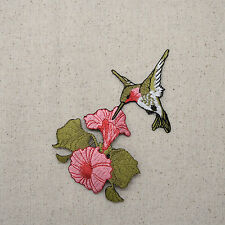 Embroidered Patch - Iron on Applique Pink Hummingbird Flower Facing Left