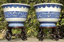 Antique Chinese PAIR Porcelain Planters Blue White Archaic Qianlong Republic