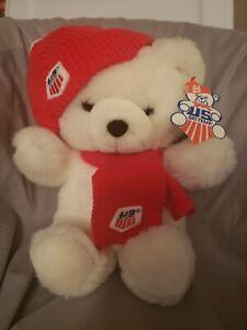 "13"" vintage 1986 commonwealth US Ski Team Olympics white plush teddy bear"