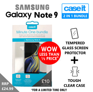 Samsung Galaxy Note 9 Glass Screen Protector and Clear Case Cover for Note9
