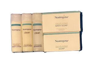 Neutrogena Clean Travel Size Shampoo Conditioner Lotion Bath Soap Face Soap New