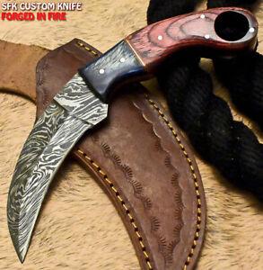 SFK Handmade Damascus Steel Hard Wood Hunting Karambit Knife