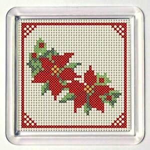 "Cross Stitch Coaster kit, ""Poinsettia"", acrylic coaster included"