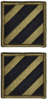 2 Pack US Army 3rd Infantry Division Subdued Sew-On Military Patches