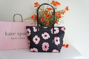 NWT Kate Spade Hayden Floating Poppies Top Zip Nylon Tote Black Pink Floral Rose