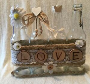 Shabby Chic Wedding Decorative Bottles Collection Lace And Hessian