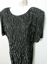 Vtg Silky Nites Silk Beaded Little Black Dress Cocktails Evening Sz 14