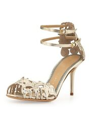 NIB Charlotte Olympia Margherita Bridal Sandals Heels Metallic 7/37 ORIG $1200!!