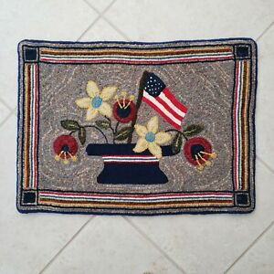HAND HOOKED RUG/ WALLHANGING -FLAG, FLOWERS AND VASE