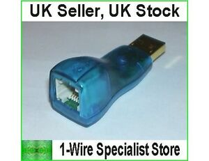 DS9490R USB to 1-wire adapter Dallas Maxim digitemp DS18S20 DS18B20