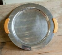 Vintage Stainless Steel Metal Tray Wood Handles Mid Century Danish Style