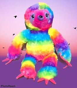 "Build A Bear Rainbow Sloth 18"" Plush Soft Toy Stuffed Animal multi-color tie-dye"