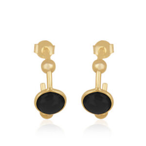 Genuine Black Onyx Gemstone Hoop Earring Silver 18k Gold Plated Jewelry