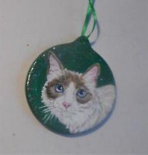 Snowshoe Blue Point Cat Christmas Ornament Decoration Hand Painted Ceramic