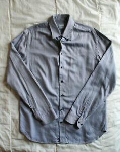 Men's Armani Collezioni Gray Striped Button-Down Dress Shirt Size Large / 42