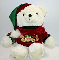 Kmart Dan Dee Christmas Bear Plush White Polar Velvet Sweater Cap 2002