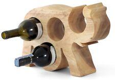 Wooden wine rack bottle holder stand Elephant shaped. Natural