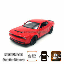 BBG 1/36 Dodge Challenger SRT Demon Red Diecast Vehicle Pull Back Model Car Toy