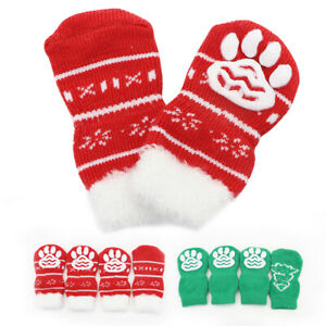 4pcs Dog Socks Knitted Christmas Non-Slip Paw Feet Protect Boots Red/Green Shoes