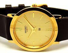 seiko quartz super slim men gold plated golden dial japan made watch run order