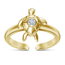 14K Yellow Gold Finish Round Cut Diamond Turtle Adjustable Toe Ring For Womens