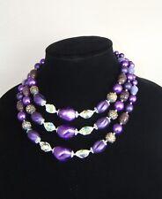 Purple Beaded Necklace 3 Tier Multi Strand Vintage Japan