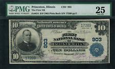 1902 $10 NBN Princeton, IL - Plain Back - FR-624 Charter 903 - PMG 25 - VF