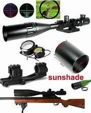 6-24x50 Hunting Rifle Scope Red Green Dual illuminated with PEPR Mount-Sunshade