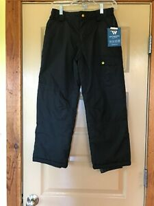 Boys Girls Youth White Sierra Black Winter Snow Ski Pants Size M (10/12) - NWT