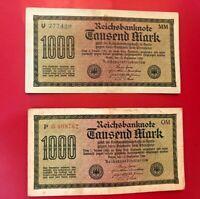 Lotto di Due 1922 1000 Segno Germania Currency Reichsbanknote Banconote (Stesso