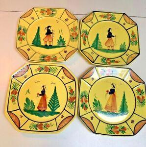 Henriot Quimper~France~Hand painted Vintage Yellow~Set 4 different OctagonPlates