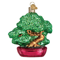Old World Christmas BONSAI TREE (48039)X Glass Ornament w/ OWC Box