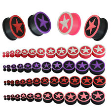 4mm - 26mm Star Silicone Rubber Stretcher Earring Flesh Tunnel Earplug Expander