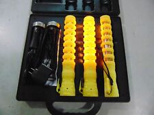 Aervoe 1157 3 Pack Rechargeable YELLOW LED Baton Road Flares W Stand & Charger