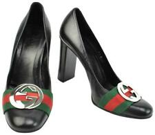 Gucci Black Leather GG guccissimma Logo Web Stripe Heels Pumps sz 7B vtg rare
