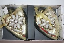 "Heart Ornaments Glass Set OF 2 Trimsetter NIB  NEW 4"" Tall Heavy Embelished"