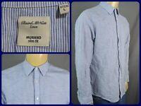 Murano Baird & McNutt Blue Striped Btn Front Camp Casual Summer Shirt Lg Slim