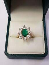 9ct Yellow Gold CZ Stone Synthetic Emerald  Ring